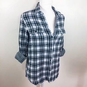 Madewell Button Up Flannel Plaid Black & White B